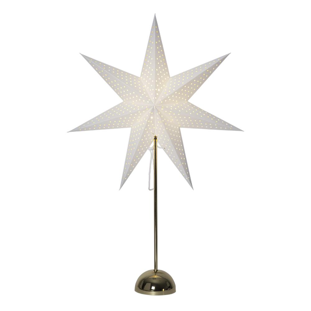 Lottie Stjärna på fot 75 cm Vit/Mässing
