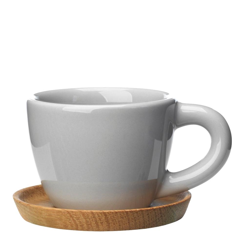 Espressomugg med träfat 10 cl Kiselgrå