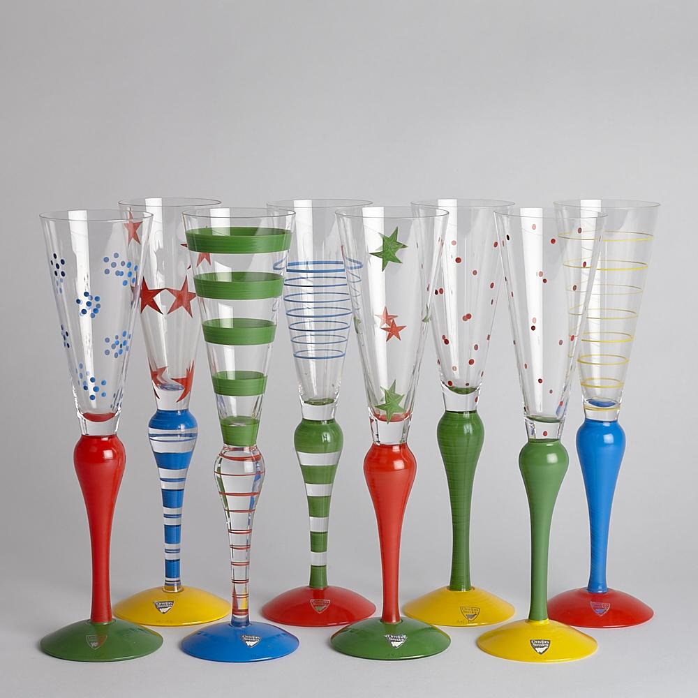 SÅLD Vintage Champagneglas Clown 8 st