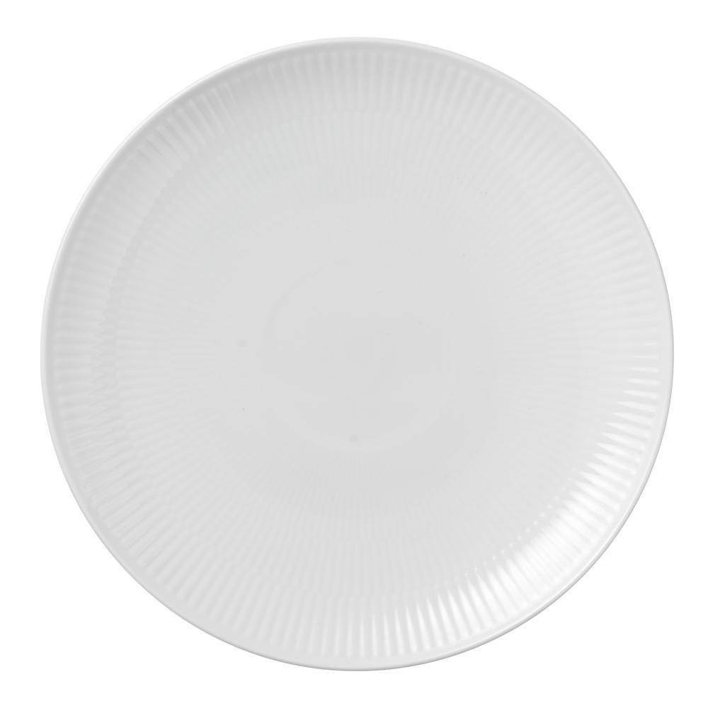 White Fluted Tallrik coupe 23 cm