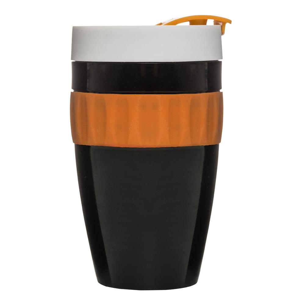 Cafe Mugg to go 40 cl Svart Orange Vit