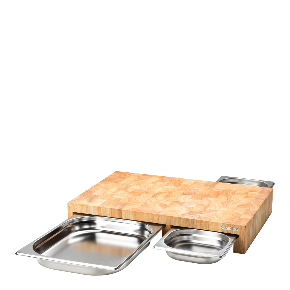 Skärbräda med låda 52x32,5x8,5 cm