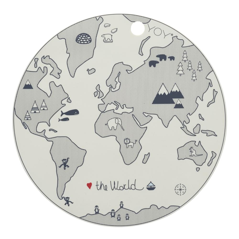 Tablett Mini 39 cm Värld Offwhite