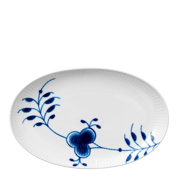 Blue Fluted Mega Fat 23 cm ovalt