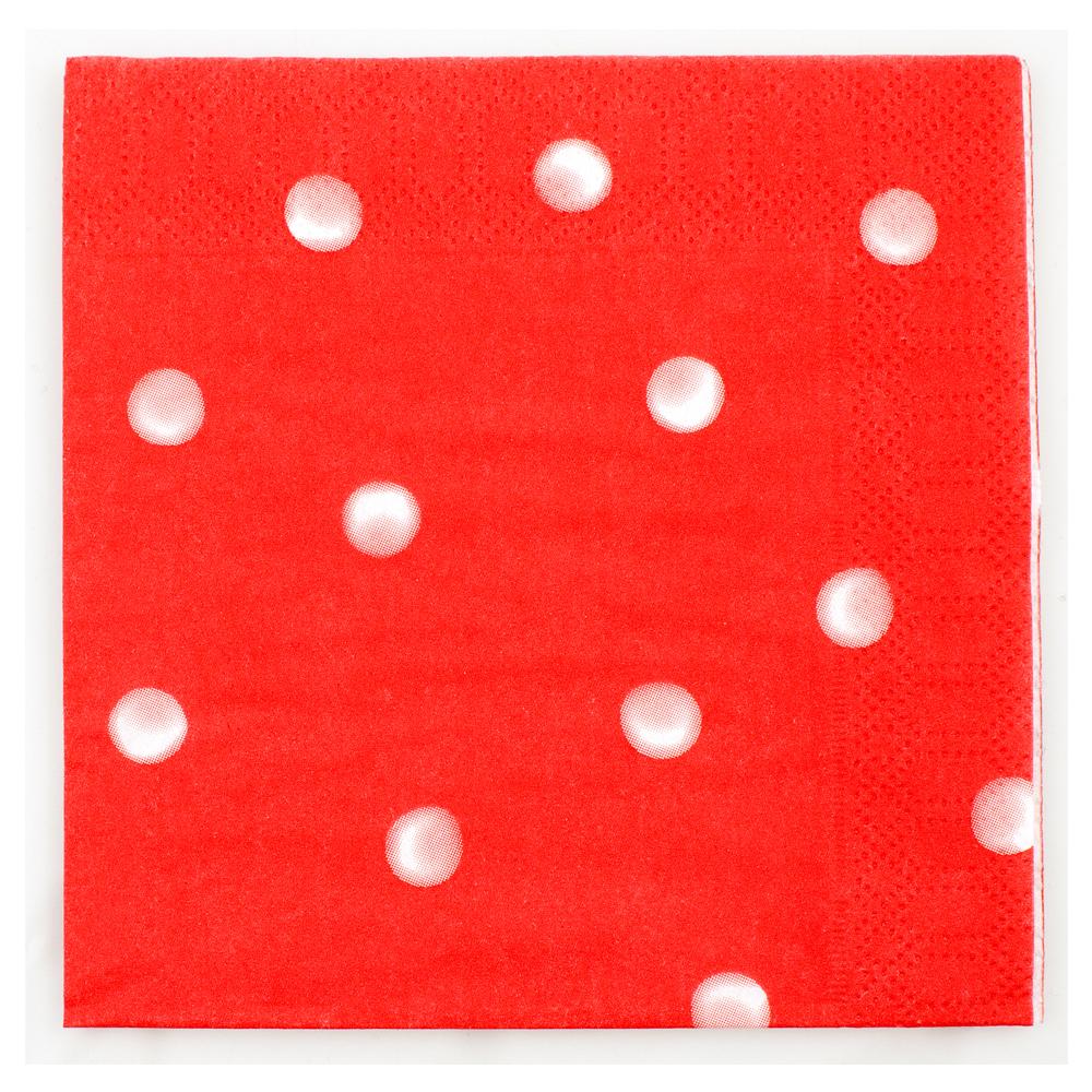 Servett 12x12 cm rödprickig 20-pack