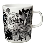Oiva/Siirtolapuutarha Mugg 25 cl Svart/vit blommor