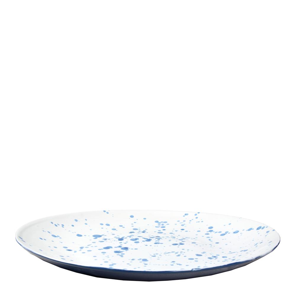 Stänk Fruktfat 38 cm Vit/Blå
