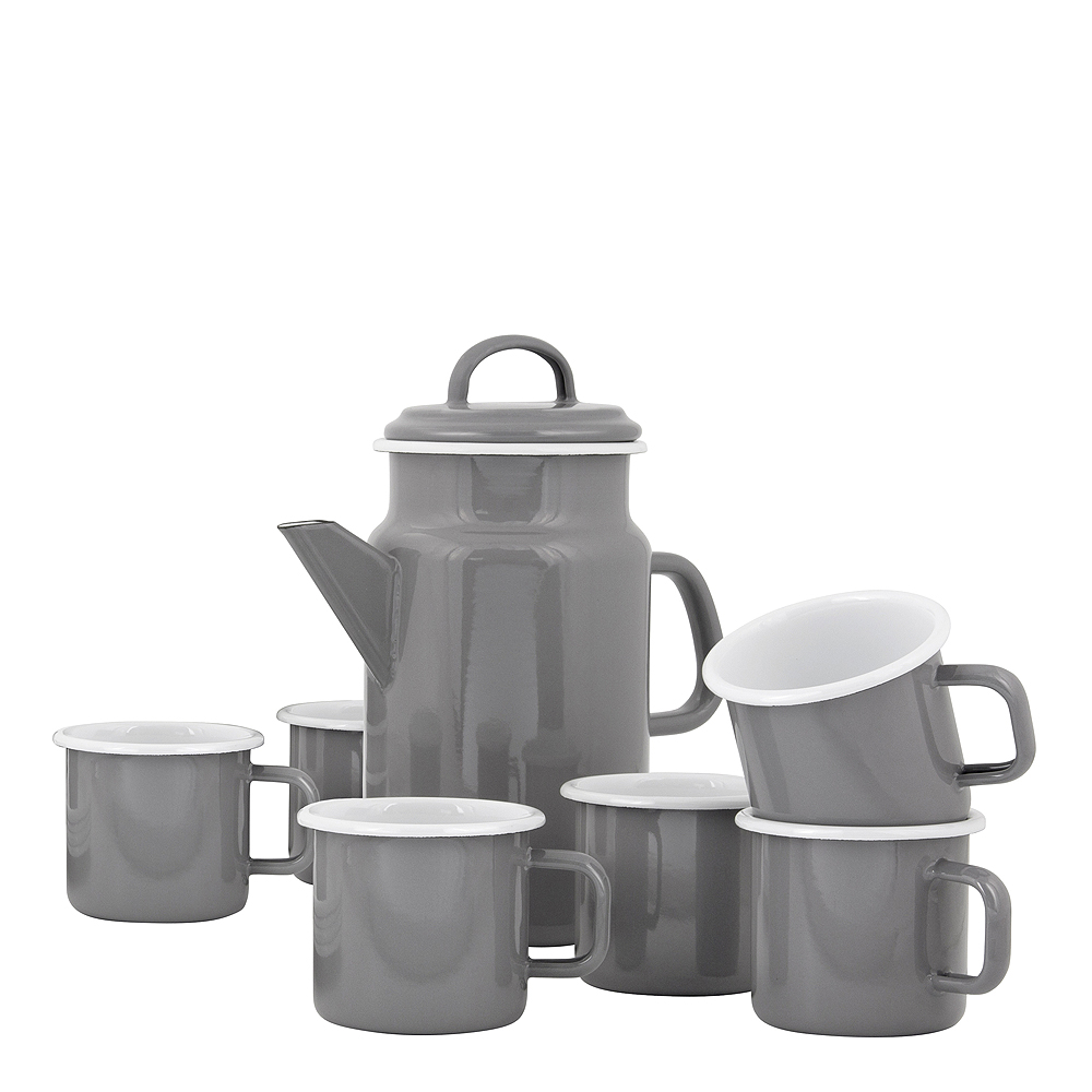 Kockums Set Tekanna 2 L/Mugg 37 cl 6-pack Grå