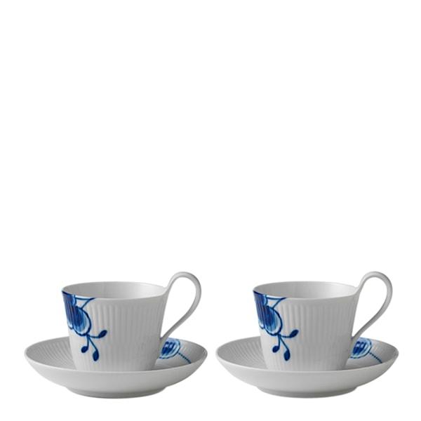 Blue Fluted Mega Kaffegods 25 cl högt handtag 2-pack