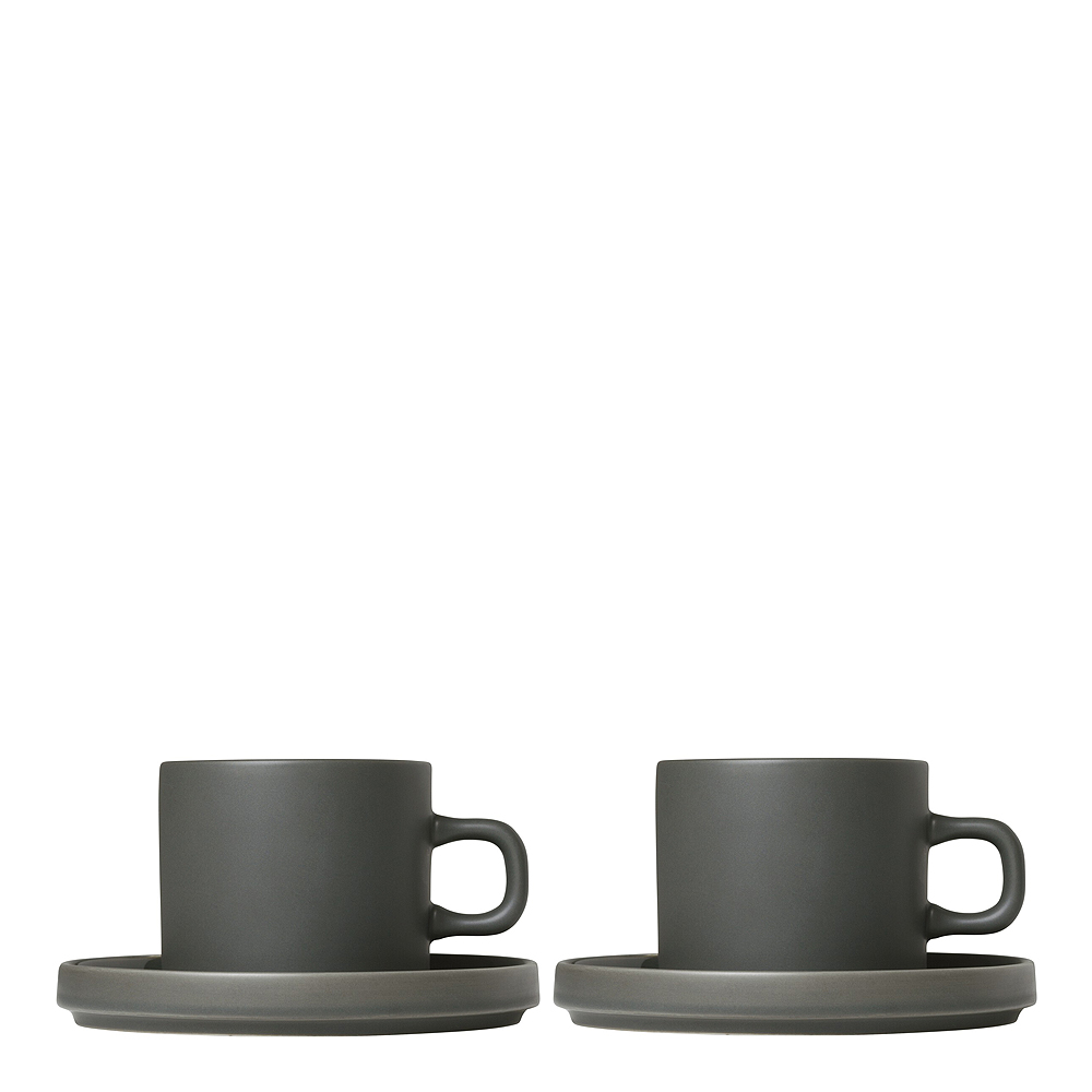 Pilar Kaffemugg med fat 2-pack Agave Green