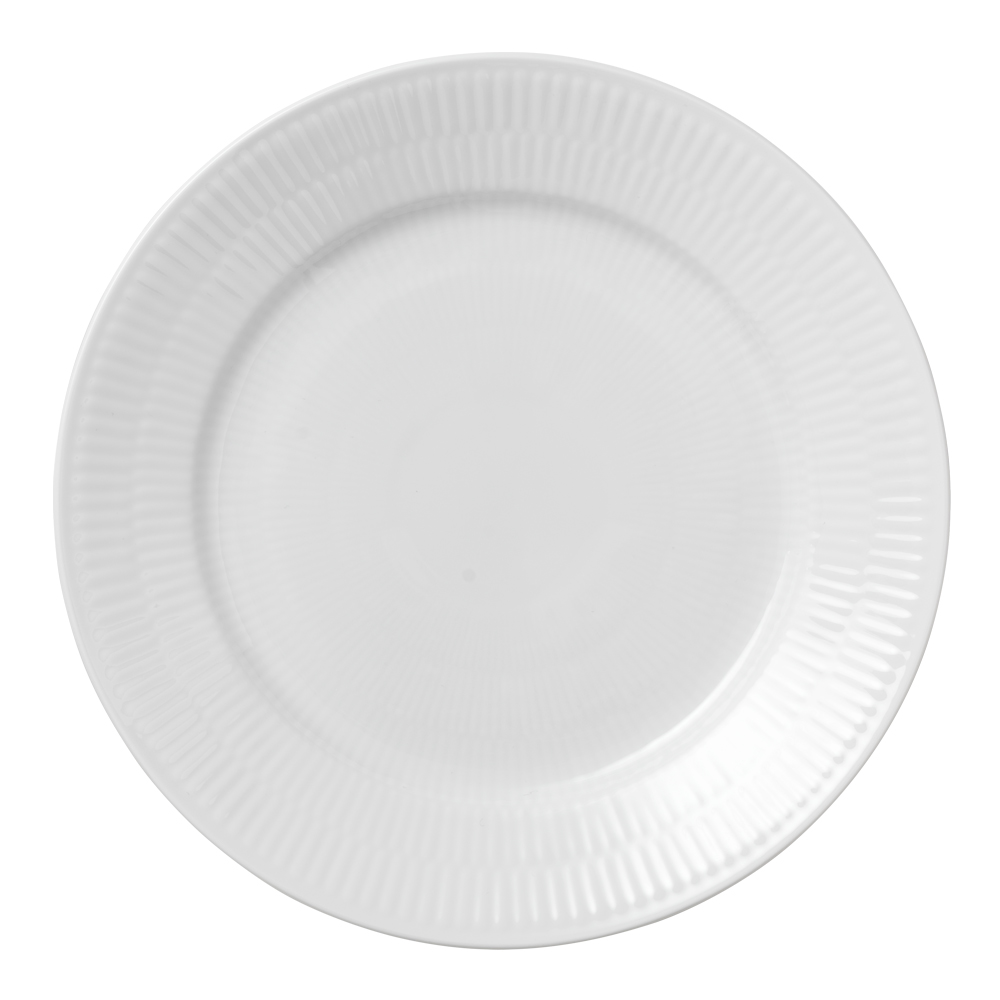 White Fluted Tallrik flat 22 cm