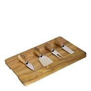 Ostset 4 knivar/bricka trä