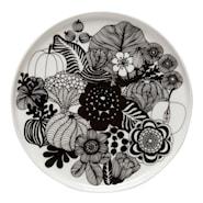 Oiva/Siirtolapuutarha Tallrik flat 20 cm Svart/vit blommor