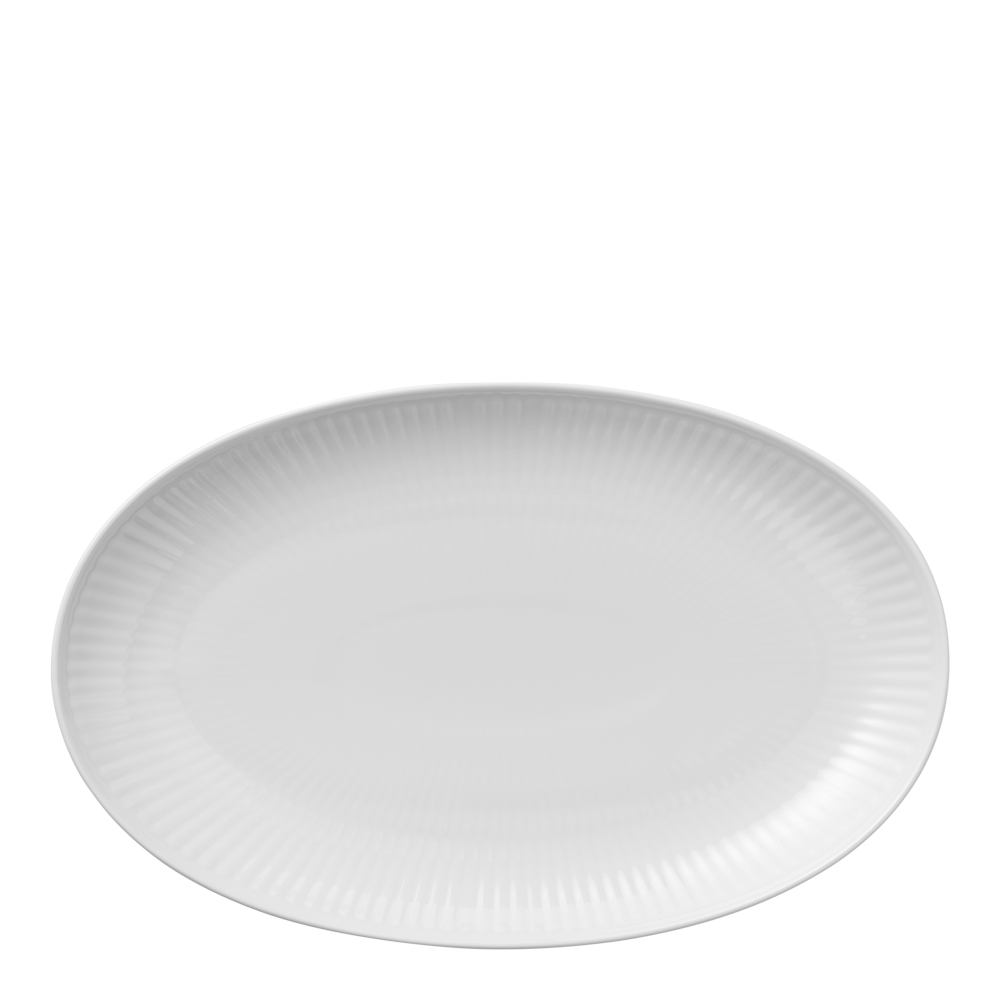 White Fluted Fat 22 cm ovalt