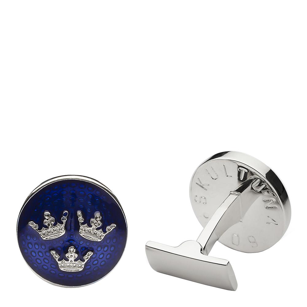 Tre Kronor Manschettknappar Blå/Silver 17 mm