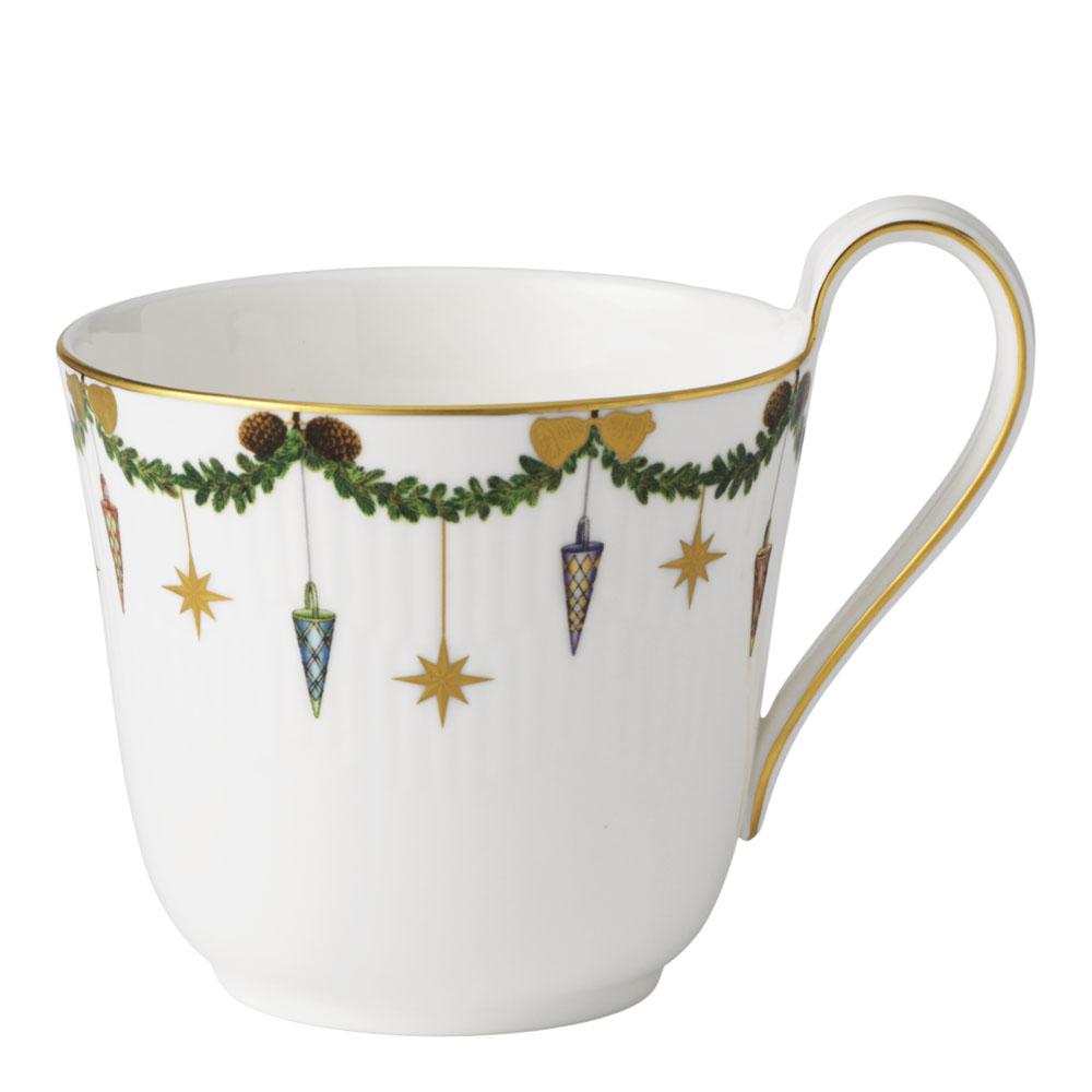 Star Fluted Christmas Kopp 33 cl Högt handtag