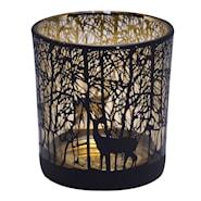 Ljuslykta 8 cm Svart/Guld skog
