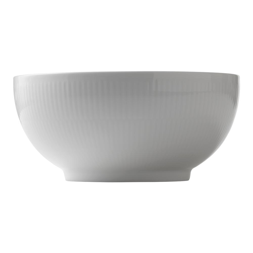 White Fluted Skål 18 L 21 cm