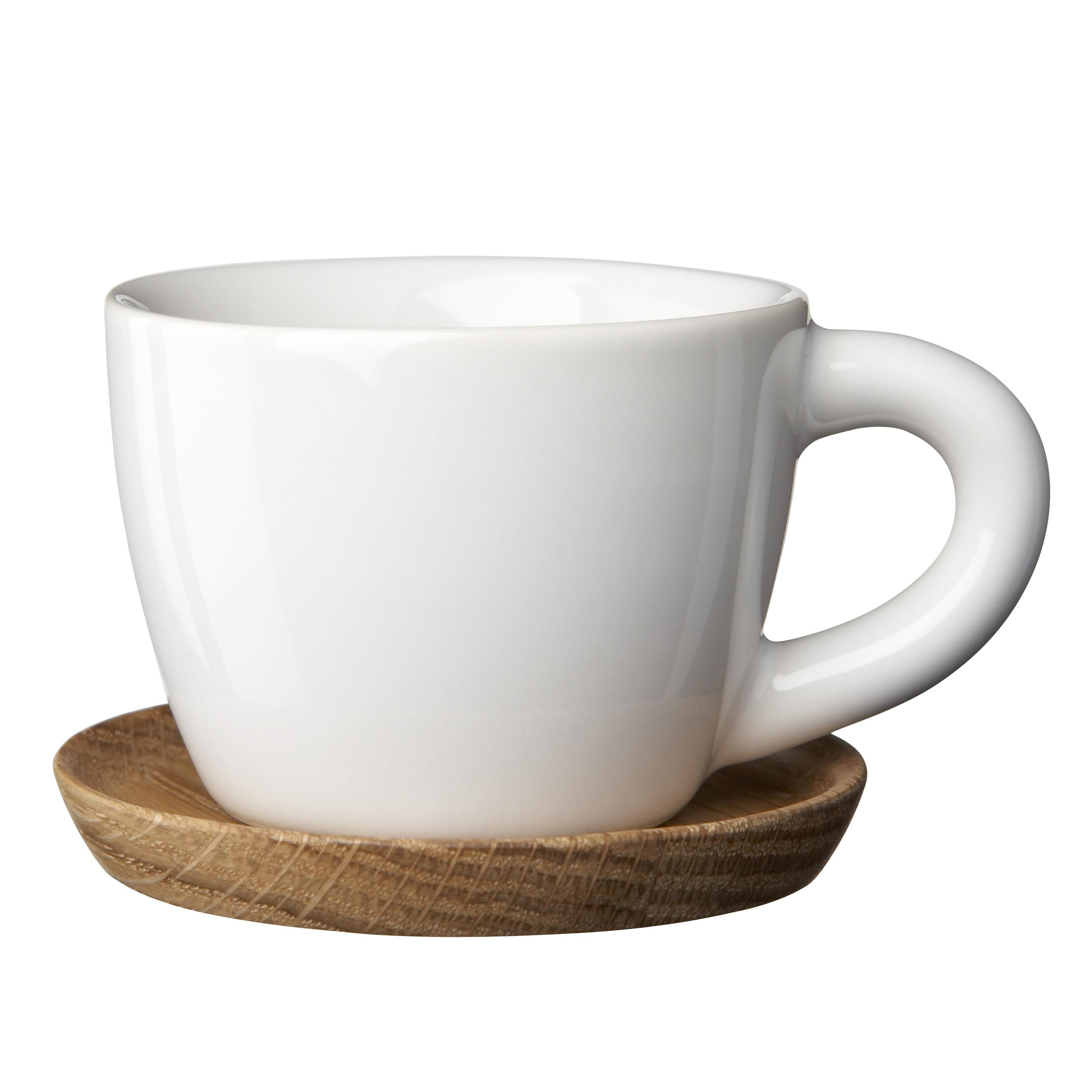 Espressokopp med träfat 10 cl Vit blank