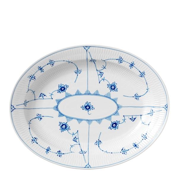 Blue Fluted Plain Fat 36,5 cm ovalt