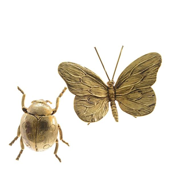 Insekt i mässing Fjäril/Skalbagge SORTERAD