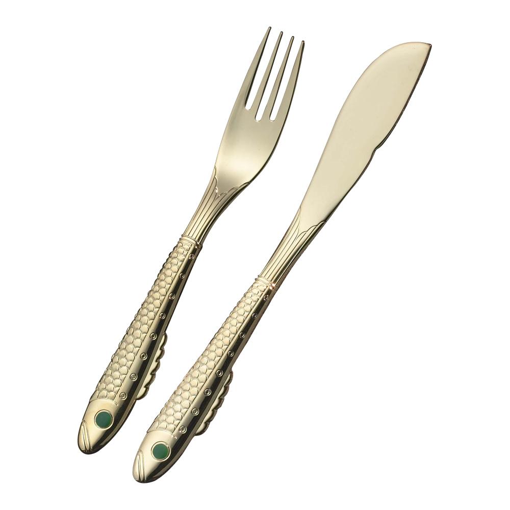 Nobel Guld/Silver Fiskkniv/Gaffel 4 delar Guld