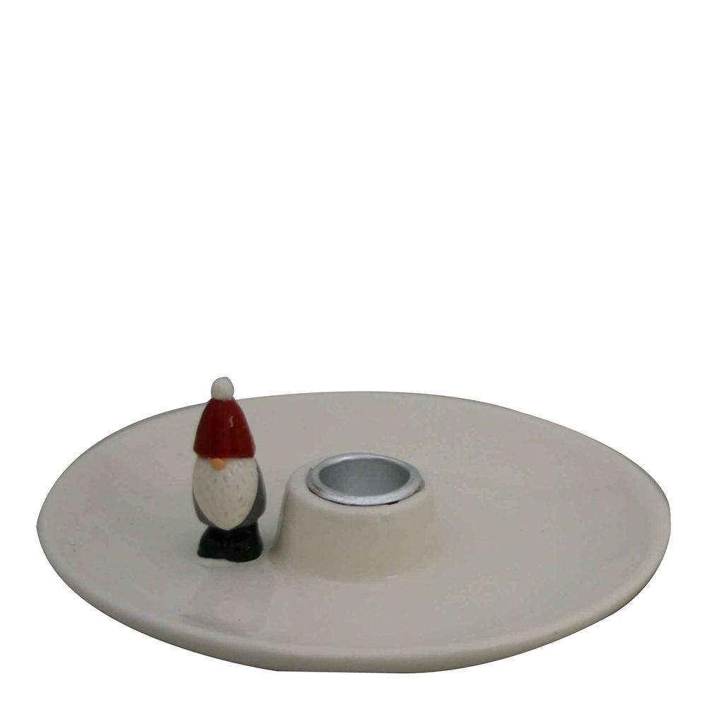 Ljusstake Tomte med Tomte 16x16x6,5 cm