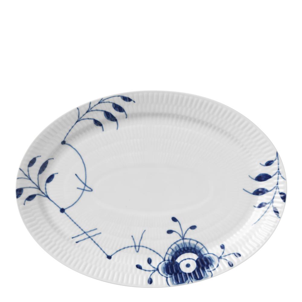 Blue Fluted Mega Fat oval 28 cm dekor nr 7