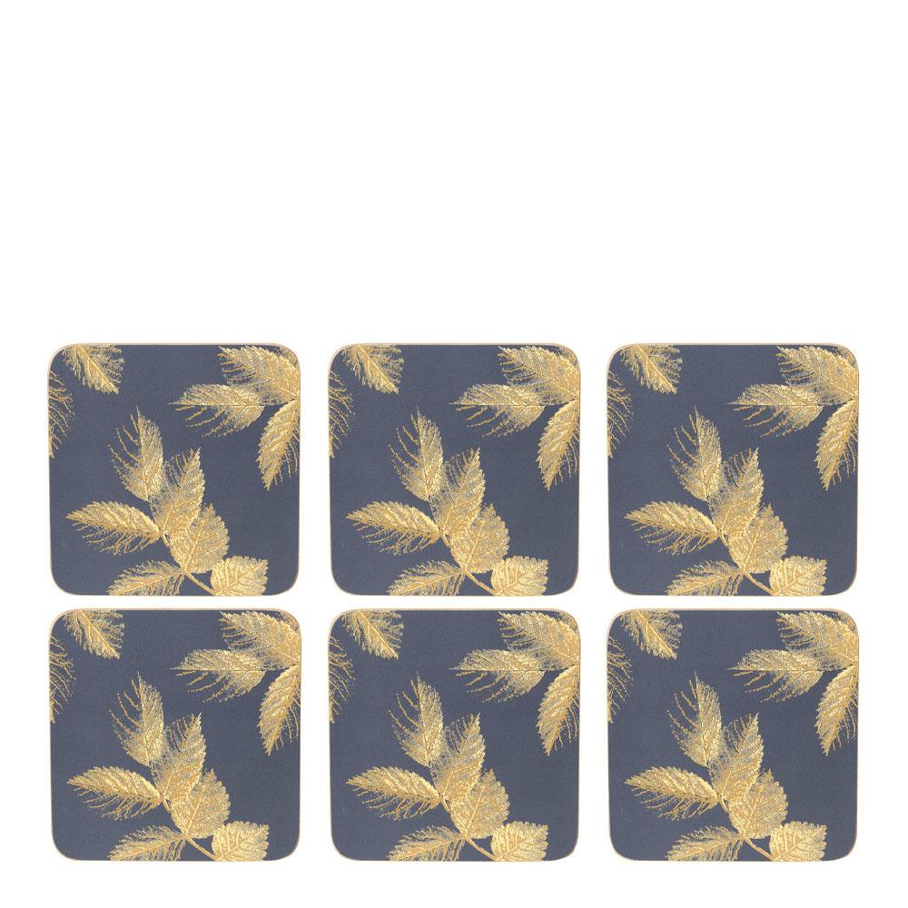 Etched Leaves Glasunderlägg 6-pack Mörkblå