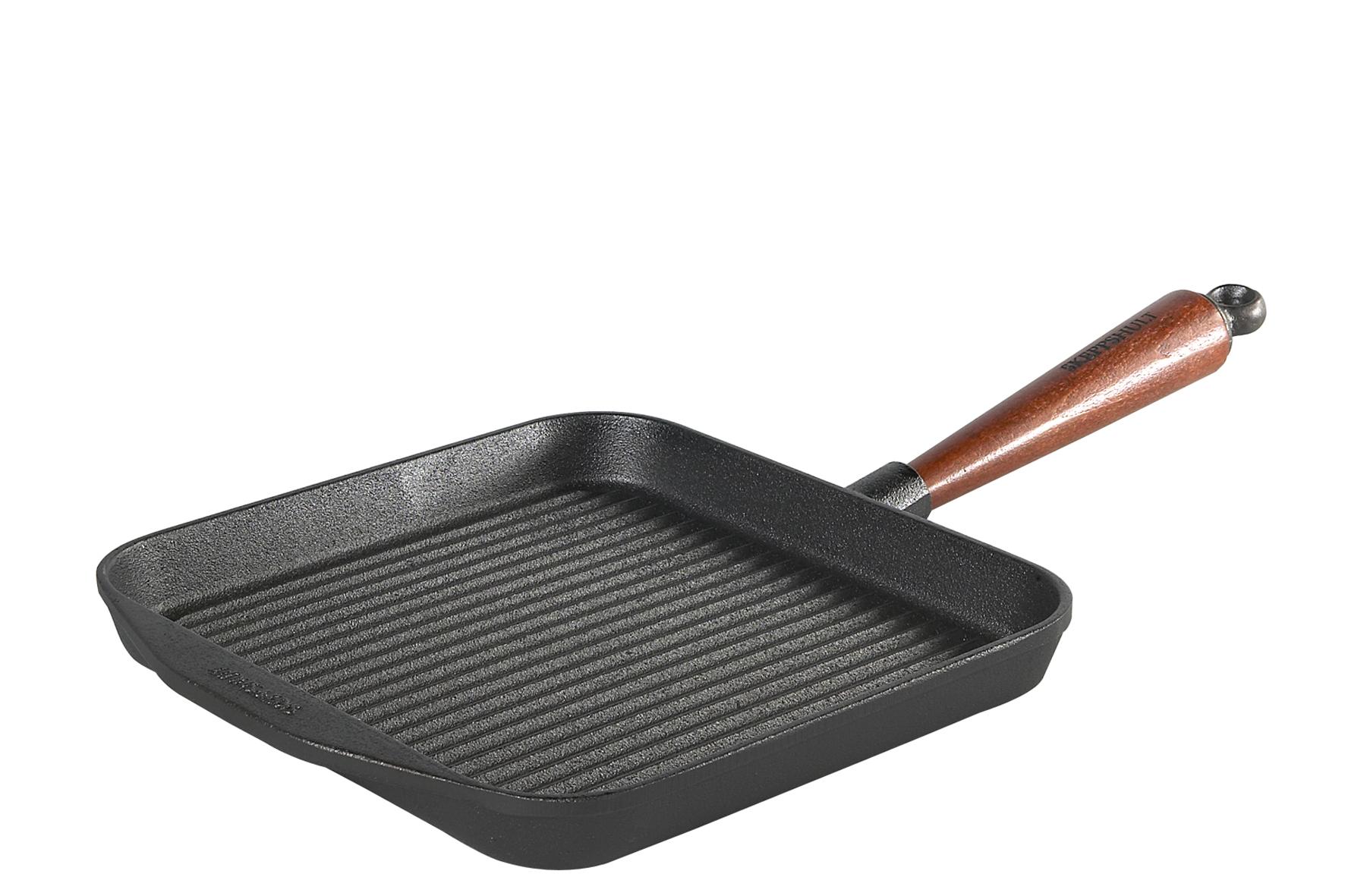 Traditional Grillpanna fyrkantig med trähandtag 25 cm