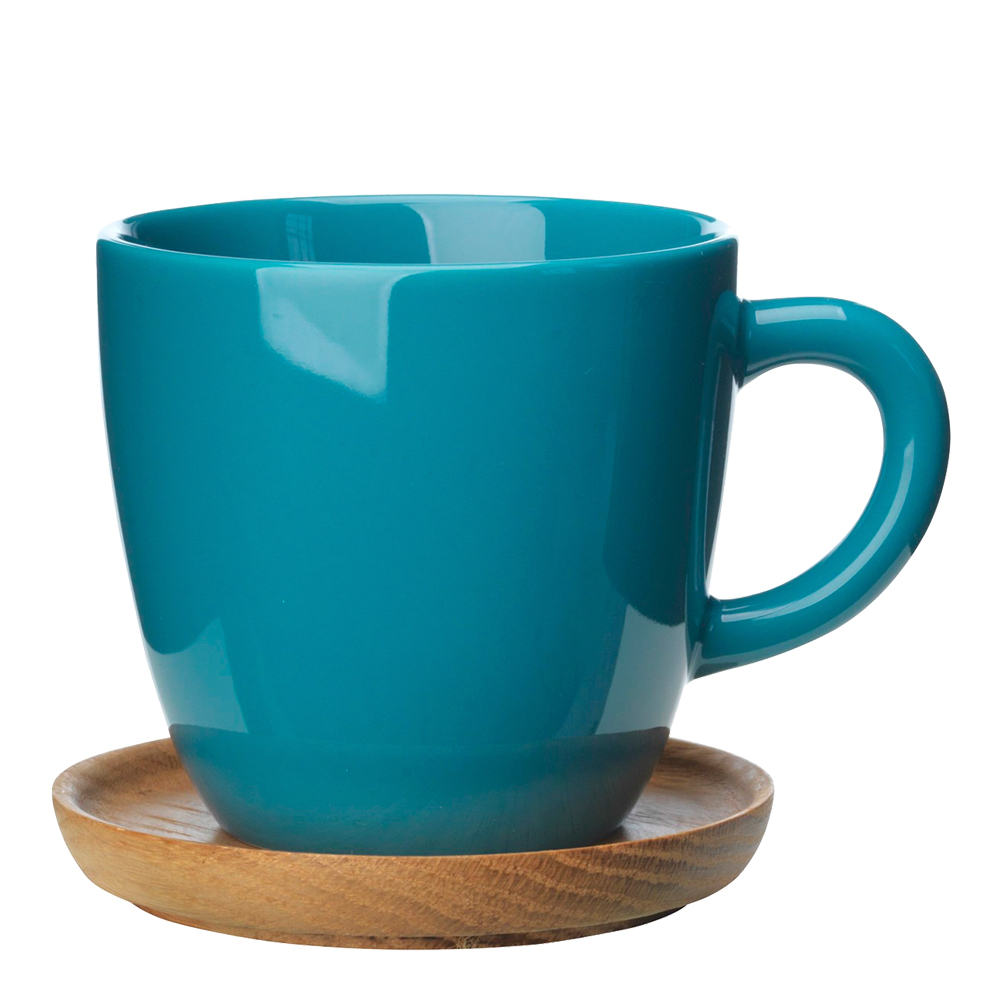 Kaffemugg med träfat 30 cl Sjögrön