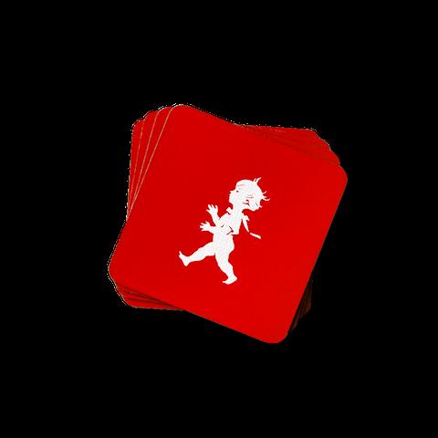 Solstickan glasunderlägg röd 4-pack