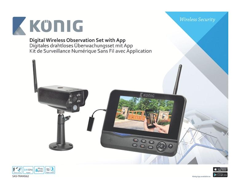 König Digital Trådlöst Övervakningspaket  2.4 GHz - 1x Kamera, SAS-TRANS62