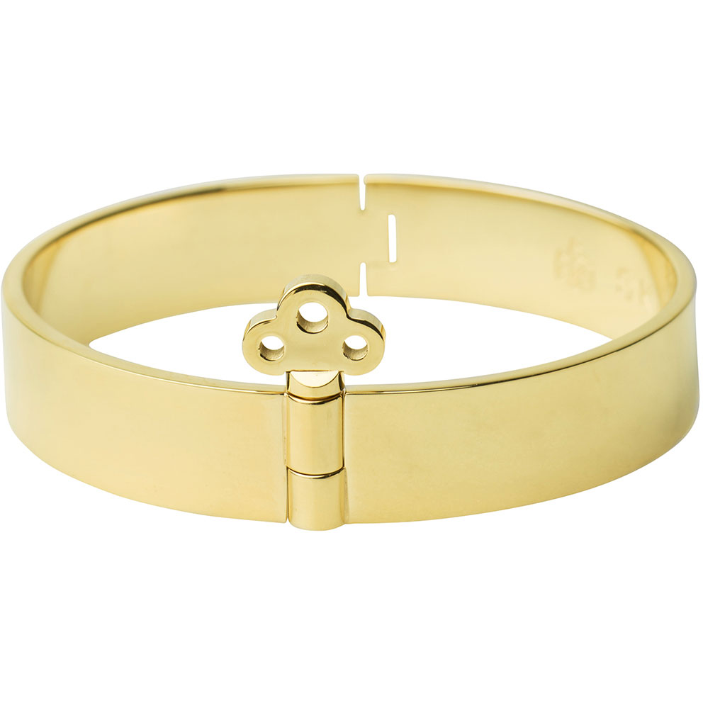 Bangle Armband med Nyckellås, Gold Plated