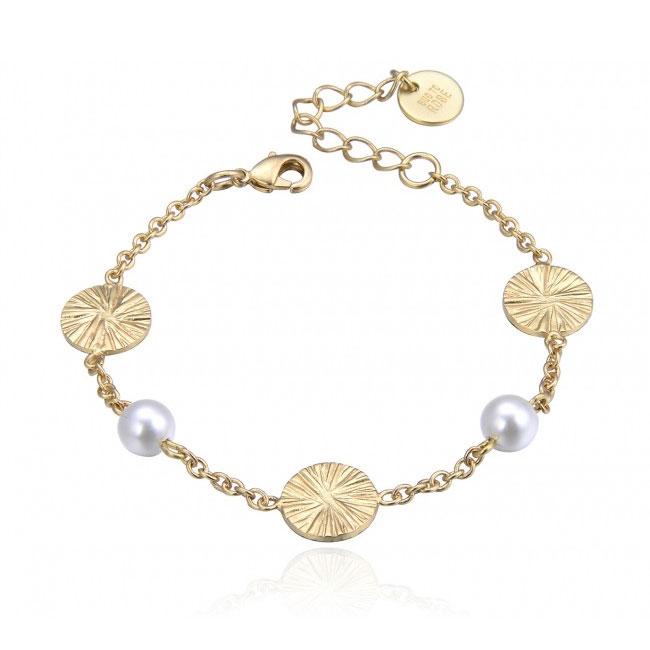 Belize Pearl Mix Armband, Guld