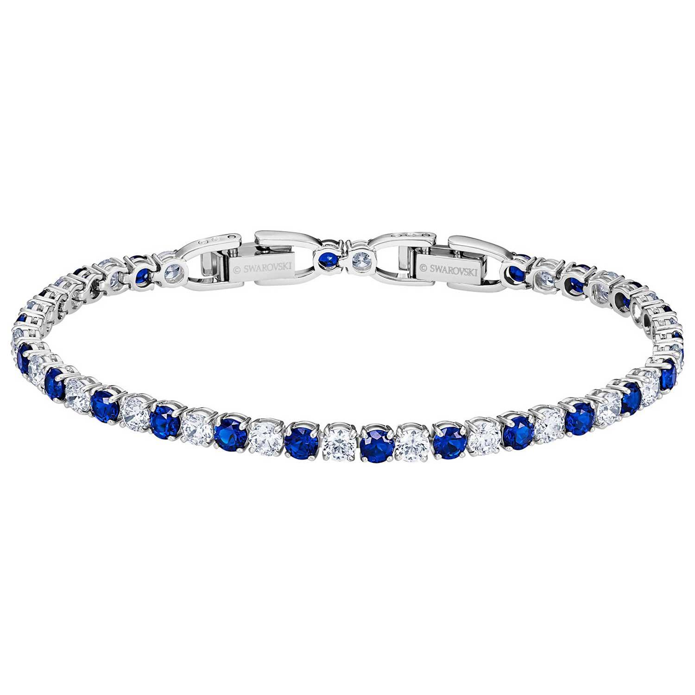 Tennis Deluxe Armband, Blå/Rhodium