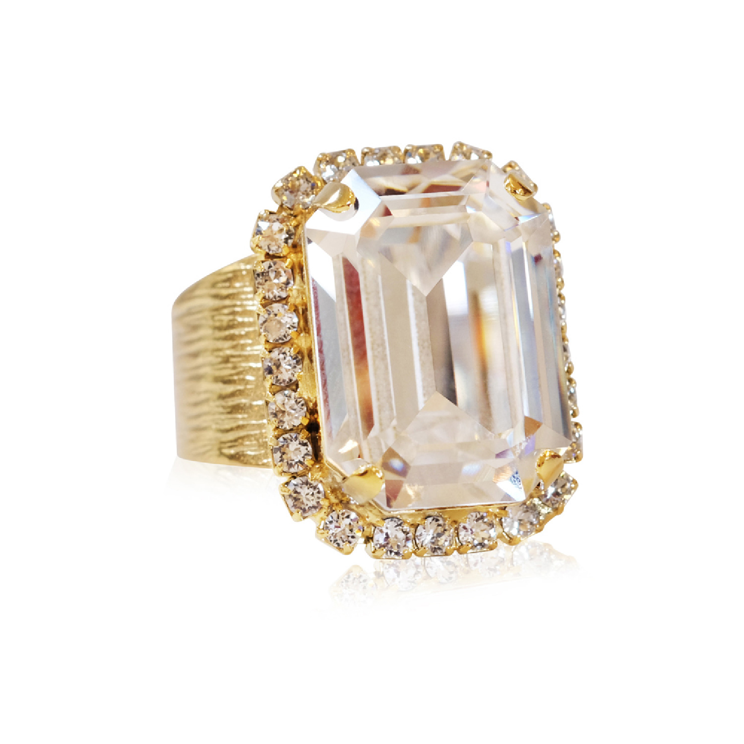 Lydia Cocktail Ring Gold/Crystal