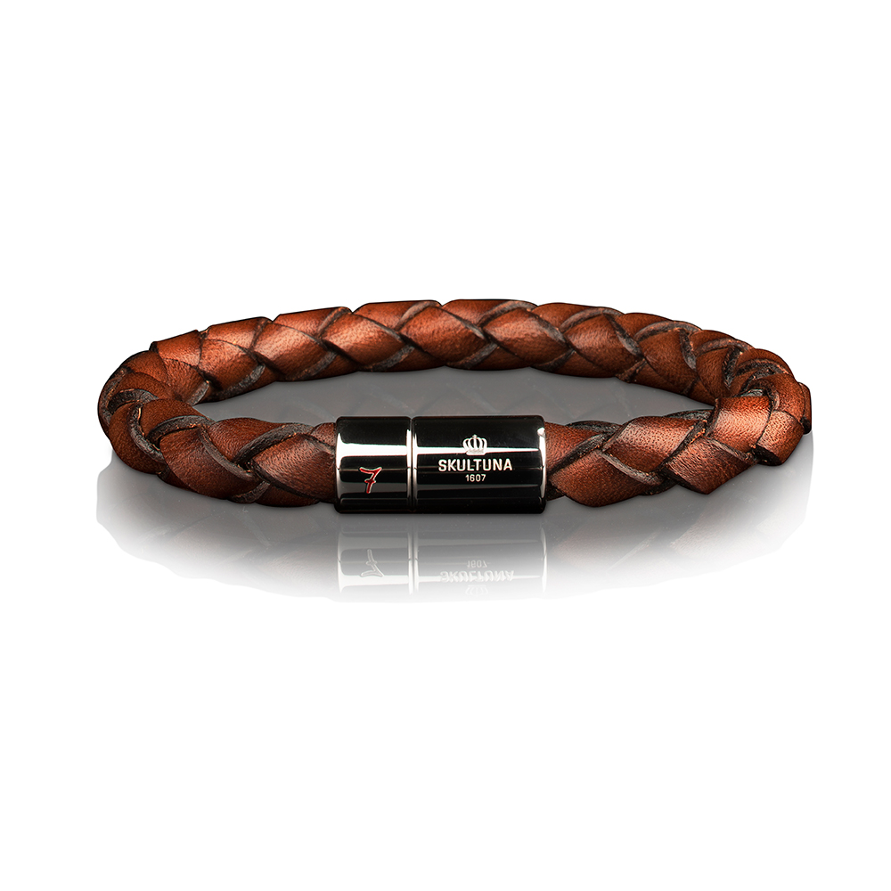 Läderarmband 7 Dark Brown, 21,5 cm