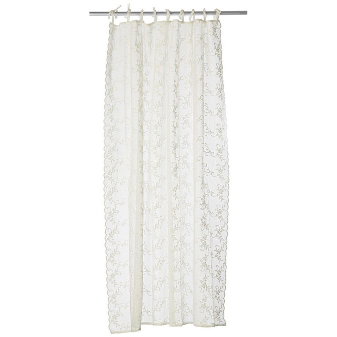 Lene Bjerre Maddie Voile Embroidery Gardin med Knytband 160x220 cm, Off White