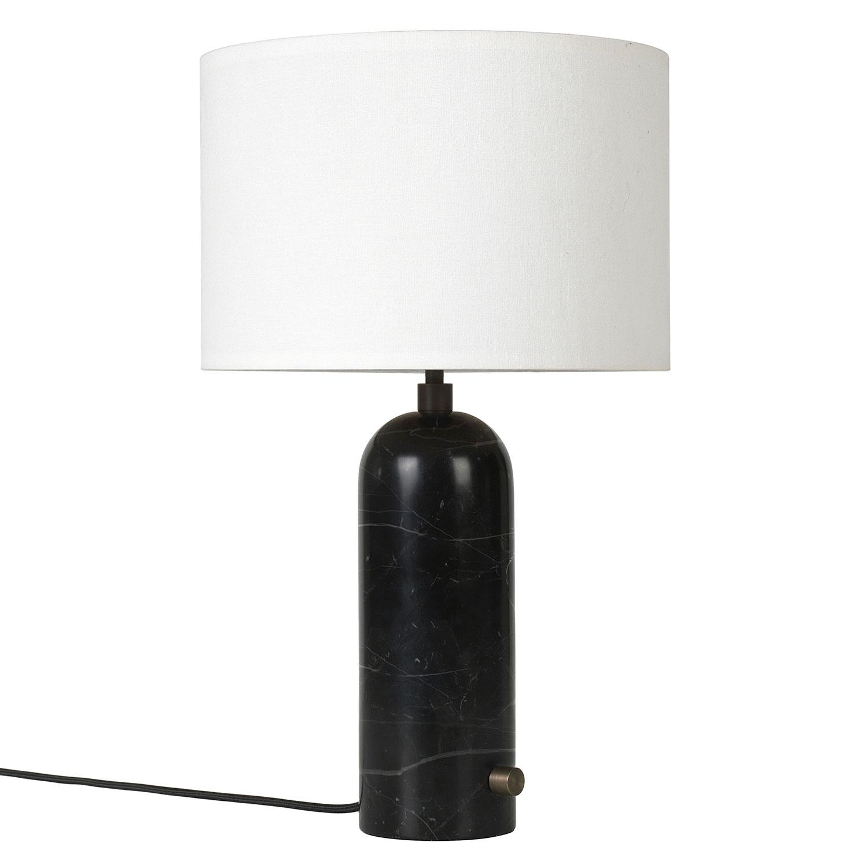 Bilde av Gubi-Gravity Bordlampe Small, Sort Marmor/ Canvas