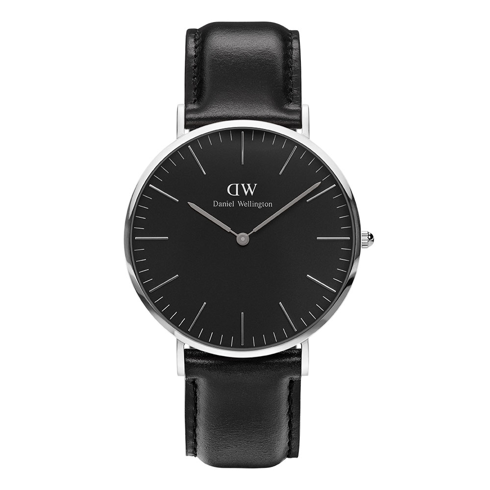 Classic Black Sheffield Herrklocka 40mm, Silver