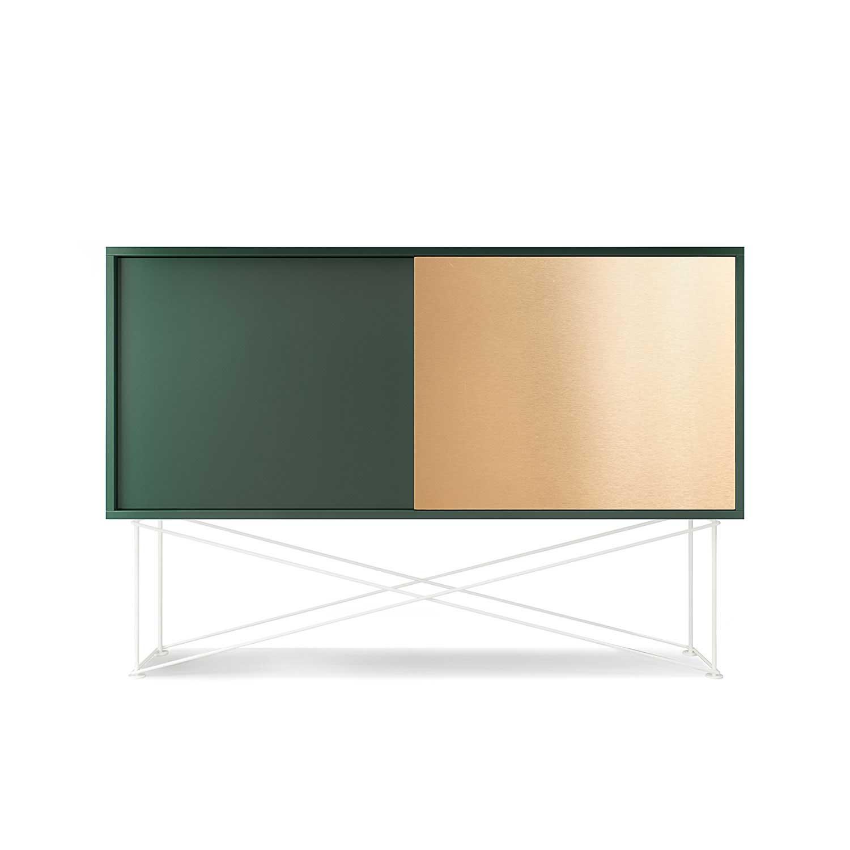 Vogue Sivupöytä 136cm, Messinkiluukku, Vihreä/1G1B/Valkoinen, Decotique