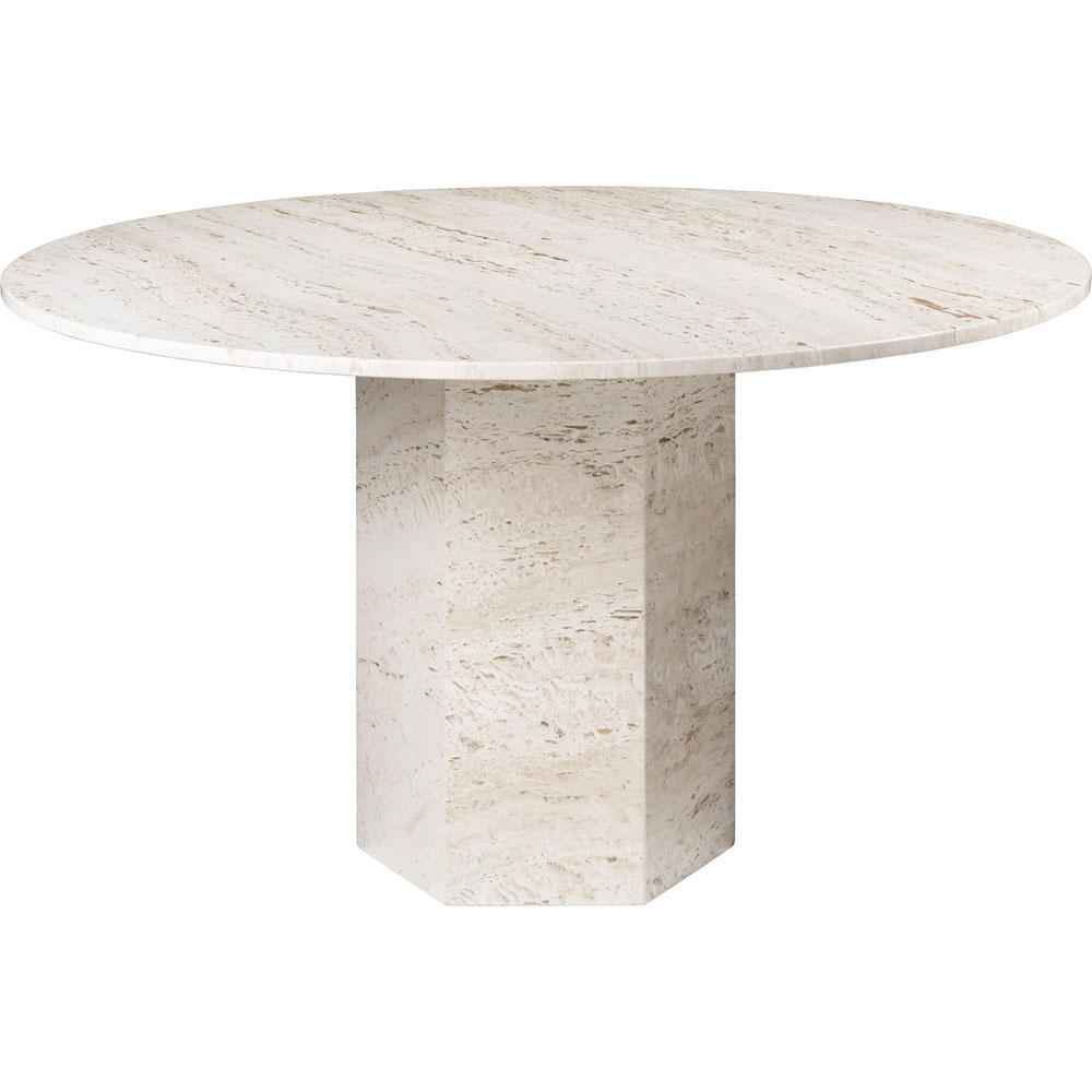 Epic Matbord Rund Ø130 cm, White Travertine