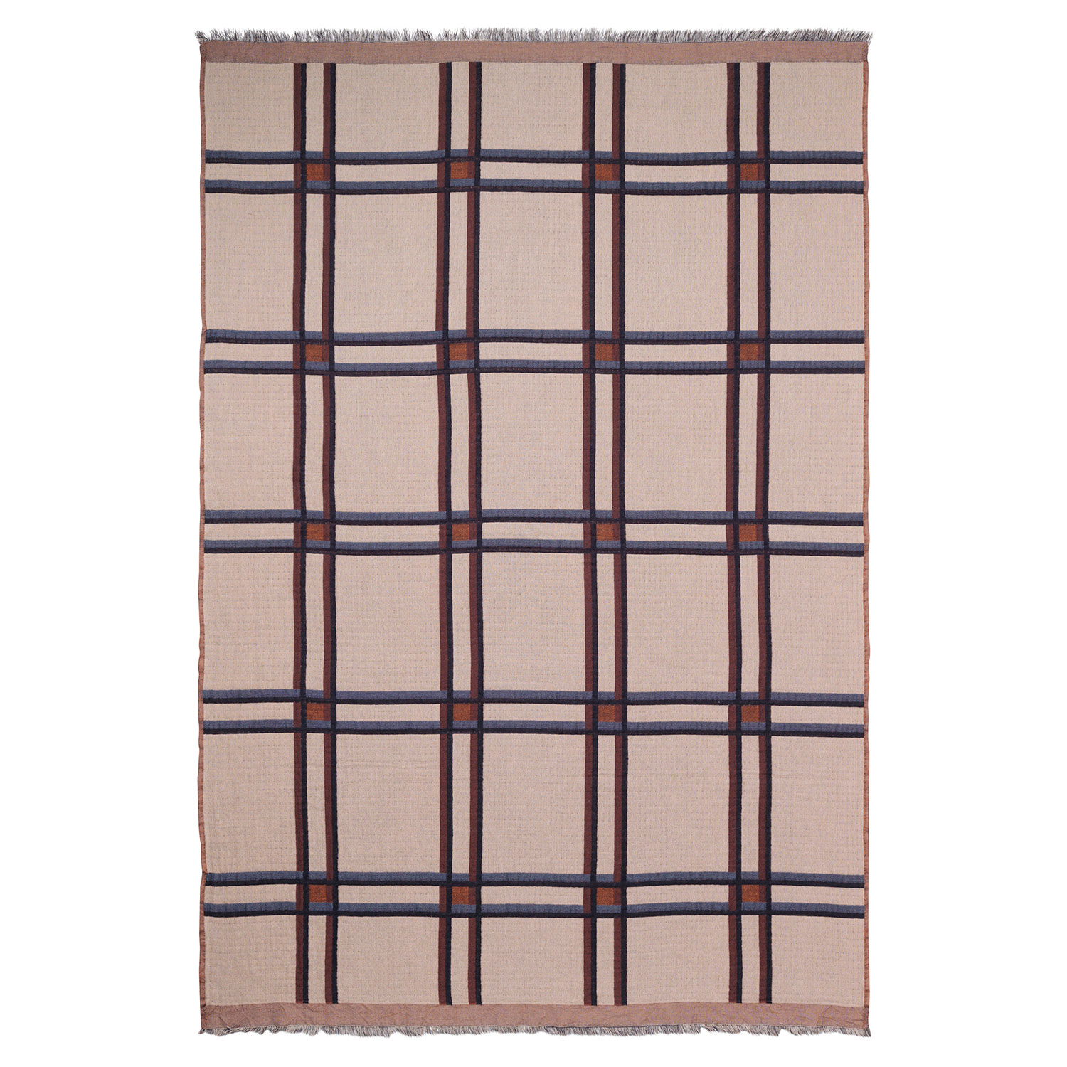 Checked Wool Blend Huopa, Beige, Ferm Living