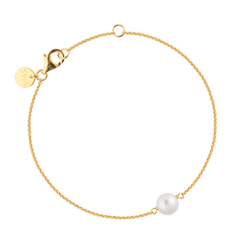 Pearl Armband, Guld/Vit Pärla