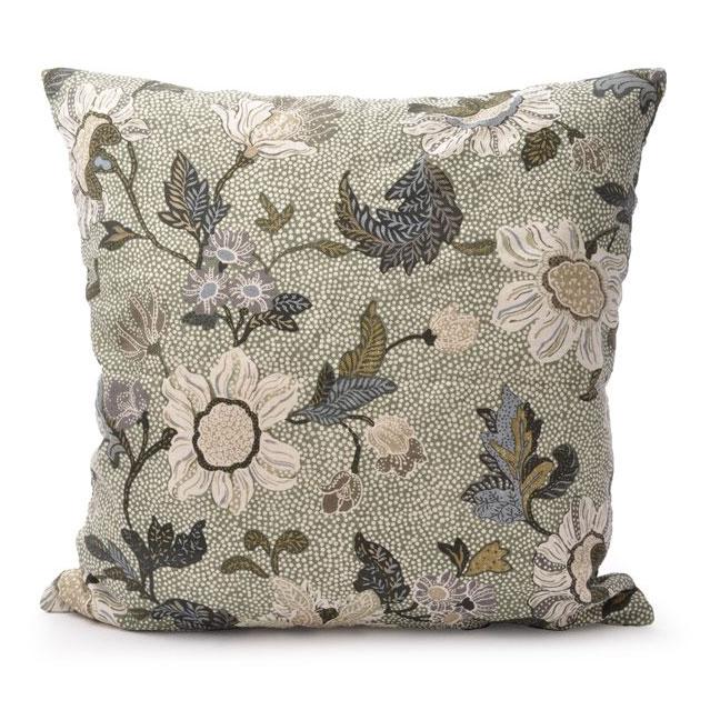 Flower Linen Kuddfodral 50x50 cm, Soft Green