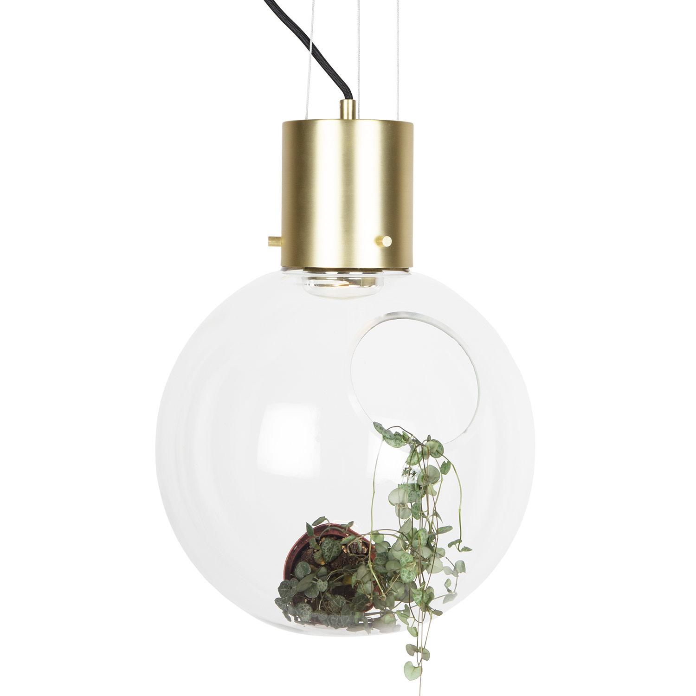 Bilde av Globen Lighting-Hole Pendel XL ø30 cm, Klar/Børstet Messing