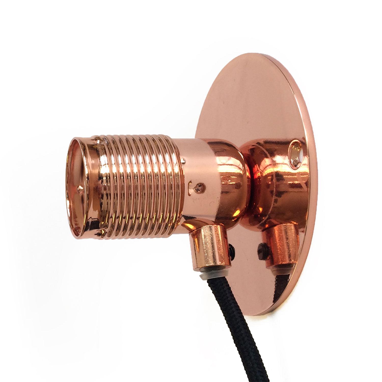 Frama E27 Vägglampa Liten Koppar, Svart Sladd