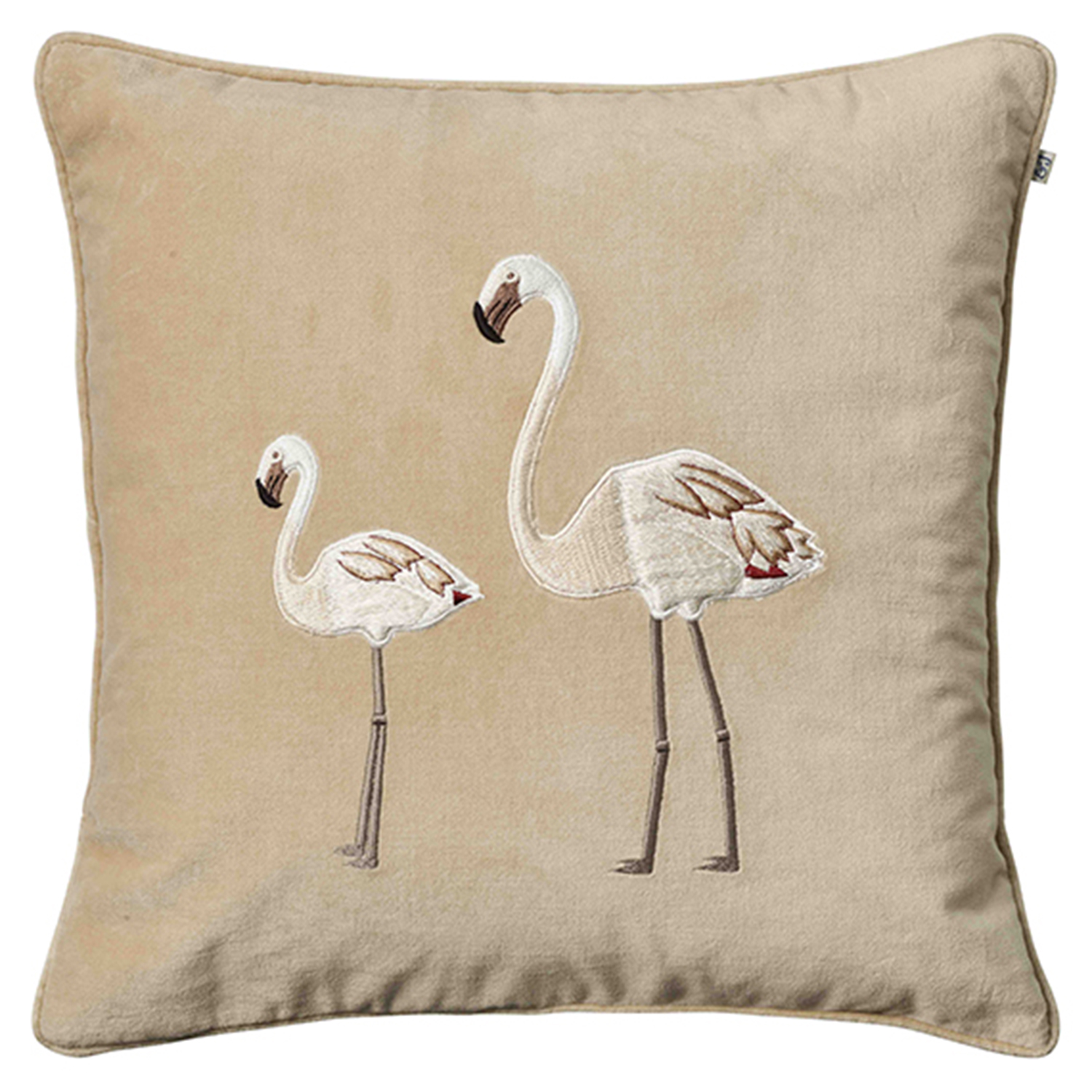 Embroidered Flamingo Kuddfodral 50x50 cm, Beige