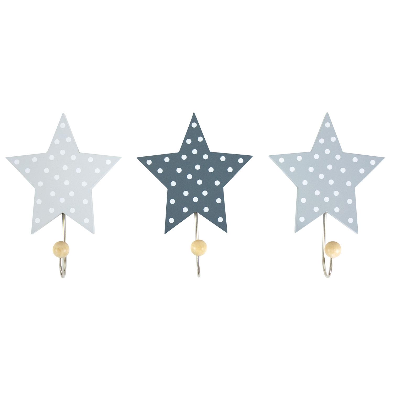 Stjärna Krokar 3-Pack, Grå